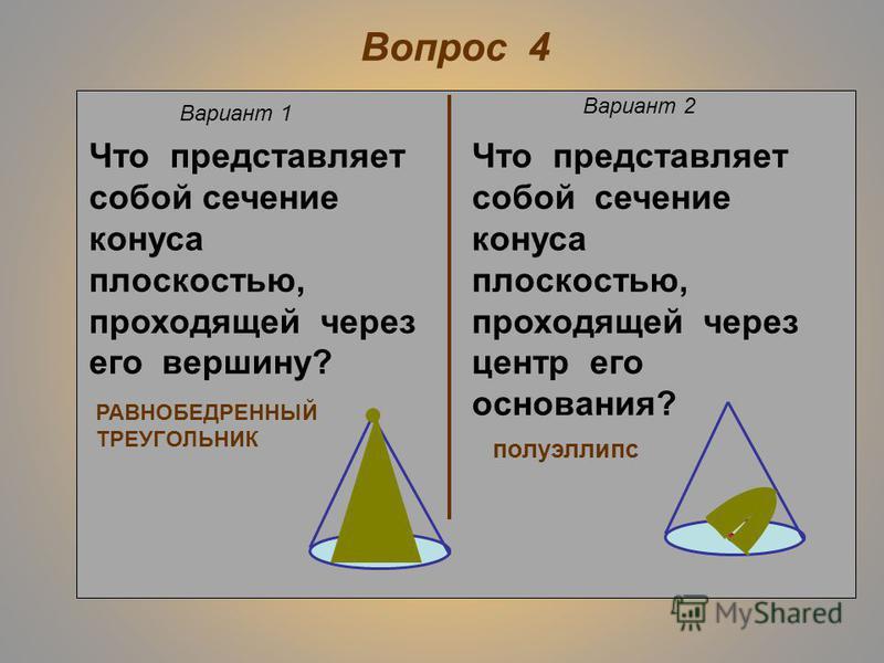 Вопрос 3 Вариант 1 Вариант 2 Равны ли друг другу углы между образующими конуса и плоскостью основания? Равны ли друг другу углы между образующими конуса и его осью? да