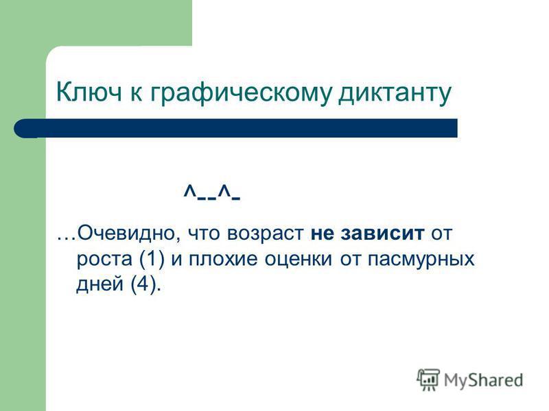 Ключ к графическому диктанту ^--^- …Очевидно, что возраст не зависит от роста (1) и плохие оценки от пасмурных дней (4).
