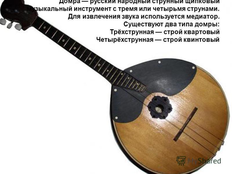 До́мира русский народный струнный щипковый музыкальный инструмент с тремя или четырьмя струнами. Для извлечения звука используется медиатор. Существуют два типа домры: Трёхструнная строй квартовый Четырёхструнная строй квинтовый