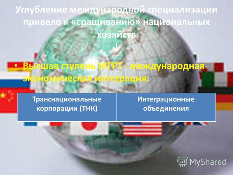 Углубление международной специализации привело к «сращиванию» национальных хозяйств Высшая ступень МГРТ - международная экономическая интеграция: Транснациональные корпорации (ТНК) Интеграционные объединения
