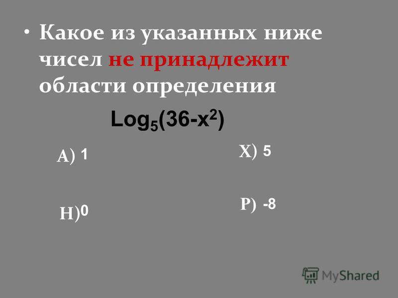 Какое из указанных ниже чисел не принадлежит области определения А) Н) Х) Р) 1 5 -8 0 Log 5 (36-x 2 )