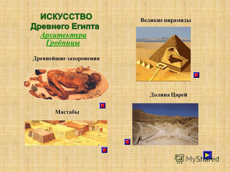 Архитектура Гробницы Мастабы Великие пирамиды Долина Царей Древнейшие захоронения