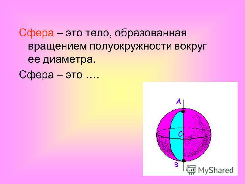 Сфера – это тело, образованная вращением полуокружности вокруг ее диаметра. Сфера – это …. А С В