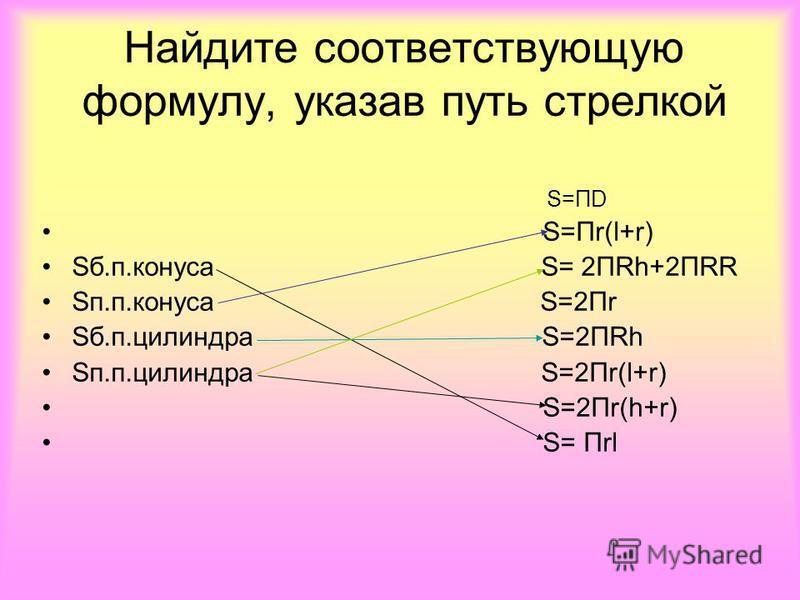 Найдите соответствующую формулу, указав путь стрелкой S=ПD S=Пr(l+r) Sб.п.конуса S= 2ПRh+2ПRR Sп.п.конуса S=2Пr Sб.п.цилиндра S=2ПRh Sп.п.цилиндра S=2Пr(l+r) S=2Пr(h+r) S= Пrl