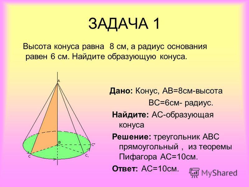 ЗАДАЧА 1 Высота конуса равна 8 см, а радиус основания равен 6 см. Найдите образующую конуса. Дано: Конус, АВ=8 см-высота ВС=6 см- радиус. Найдите: АС-образующая конуса Решение: треугольник АВС прямоугольный, из теоремы Пифагора АС=10 см. Ответ: АС=10