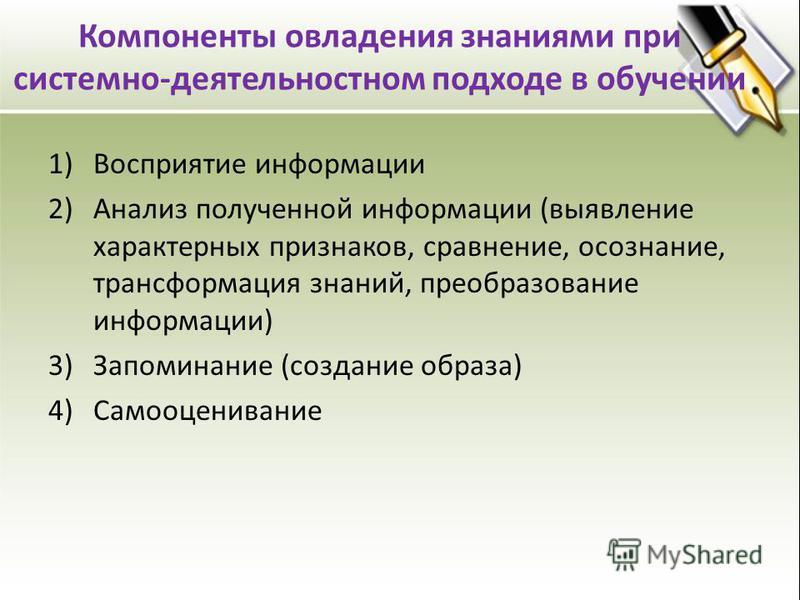 Компоненты овладения знаниями при системно-деятельностном подходе в обучении 1)Восприятие информации 2)Анализ полученной информации (выявление характерных признаков, сравнение, осознание, трансформация знаний, преобразование информации) 3)Запоминание