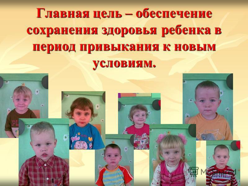 Главная цель – обеспечение сохранения здоровья ребенка в период привыкания к новым условиям.