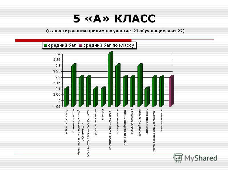 5 «А» КЛАСС (в анкетировании принимало участие 22 обучающихся из 22)