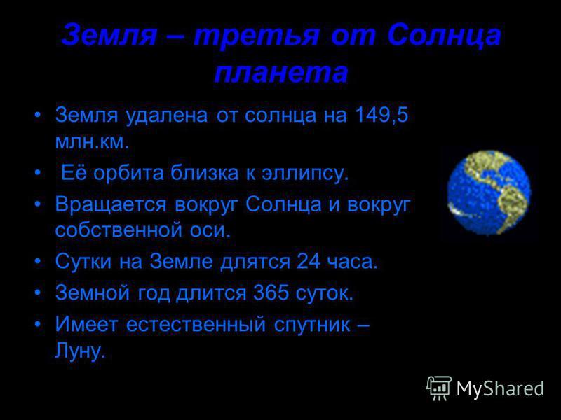 Земля – третья от Солнца планета Земля удалена от солнца на 149,5 млн.км. Её орбита близка к эллипсу. Вращается вокруг Солнца и вокруг собственной оси. Сутки на Земле длятся 24 часа. Земной год длится 365 суток. Имеет естественный спутник – Луну.