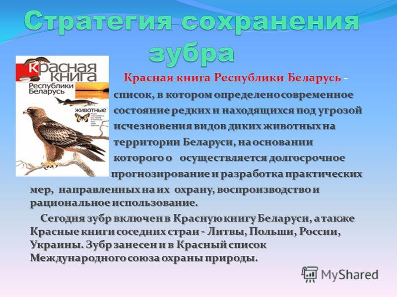 Красная книга Республики Беларусь - список, в котором определено современное состояние редких и находящихся под угрозой состояние редких и находящихся под угрозой исчезновения видов диких животных на исчезновения видов диких животных на территории Бе