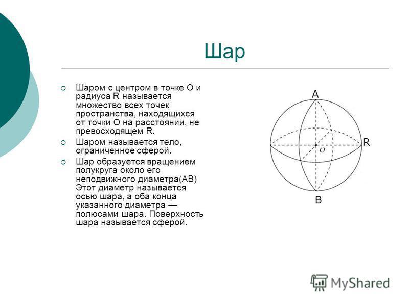 Шар Шаром с центром в точке О и радиуса R называется множество всех точек пространства, находящихся от точки О на расстоянии, не превосходящем R. Шаром называется тело, ограниченное сферой. Шар образуется вращением полукруга около его неподвижного ди