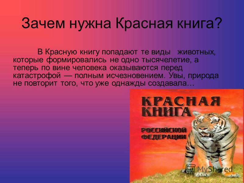 Зачем нужна Красная книга? В Красную книгу попадают те виды животных, которые формировались не одно тысячелетие, а теперь по вине человека оказываются перед катастрофой полным исчезновением. Увы, природа не повторит того, что уже однажды создавала…