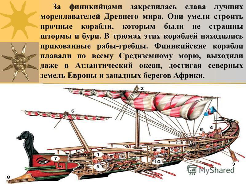 За финикийцами закрепилась слава лучших мореплавателей Древнего мира. Они умели строить прочные корабли, которым были не страшны штормы и бури. В трюмах этих кораблей находились прикованные рабы-гребцы. Финикийские корабли плавали по всему Средиземно