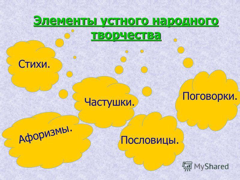 Элементы устного народного творчества Стихи. Пословицы. Поговорки. Частушки. Афоризмы.