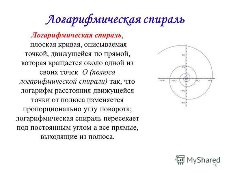 Логарифмическая спираль Логарифмическая спираль, плоская кривая, описываемая точкой, движущейся по прямой, которая вращается около одной из своих точек О (полюса логарифмической спирали) так, что логарифм расстояния движущейся точки от полюса изменяе