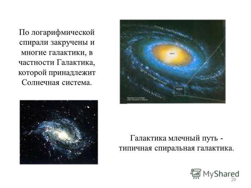 29 По логарифмической спирали закручены и многие галактики, в частности Галактика, которой принадлежит Солнечная система. Галактика млечный путь - типичная спиральная галактика.