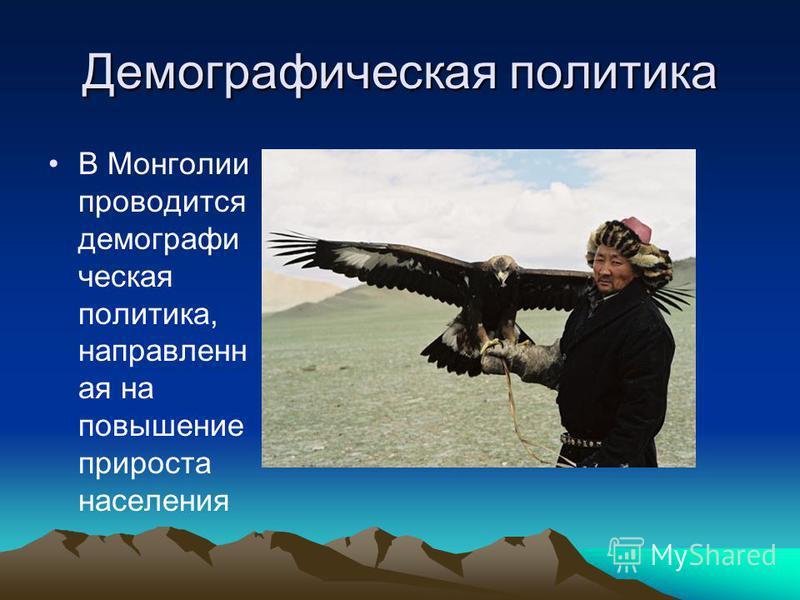 Демографическая политика В Монголии проводится демографическая политика, направленная на повышение прироста населения