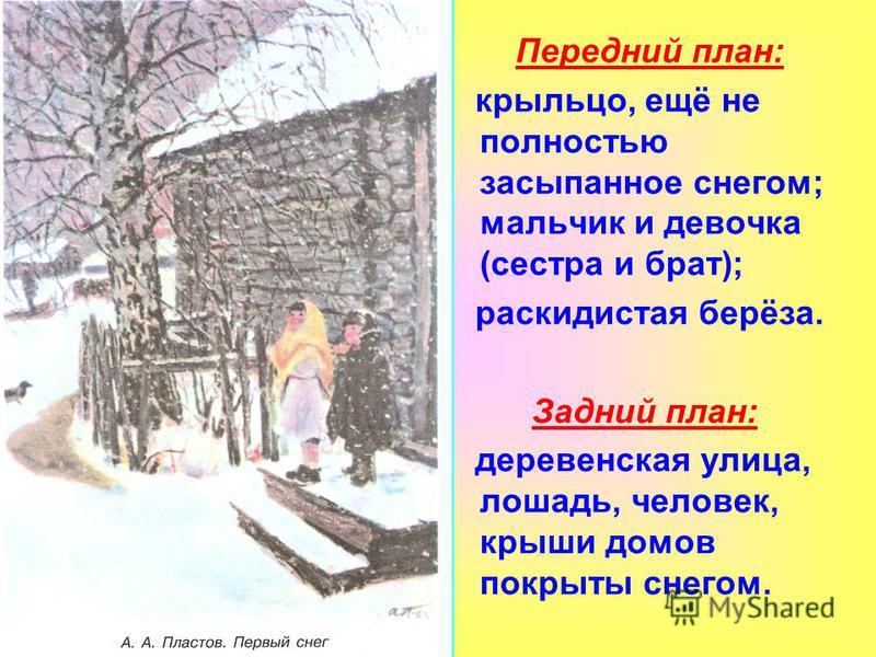 Передний план: крыльцо, ещё не полностью засыпаное снегом; мальчик и девочка (сестра и брат); раскидистая берёза. Задний план: деревенская улица, лошадь, человек, крыши домов покрыты снегом.
