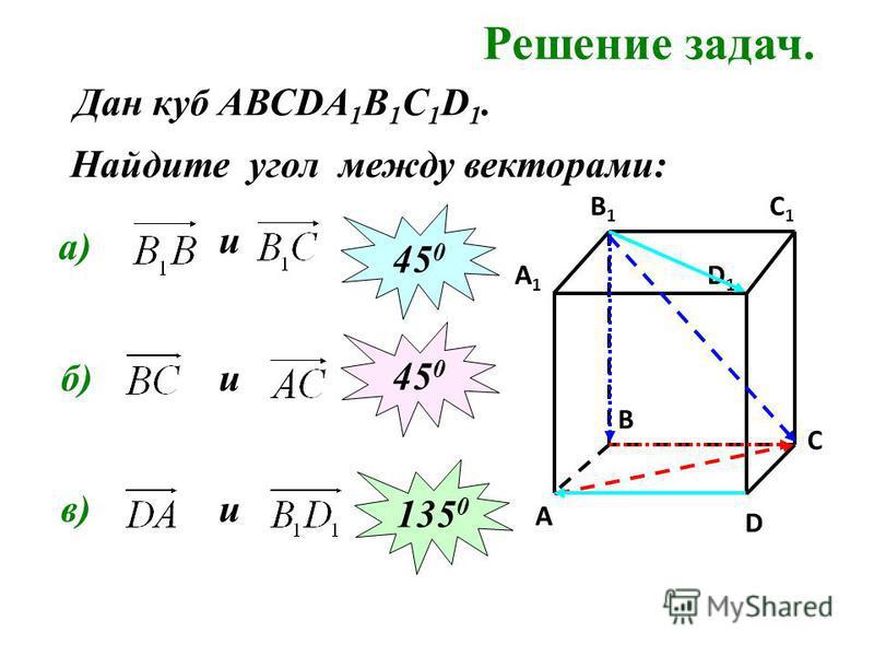 Решение задач. Найдите угол между векторами: C C1C1 A1A1 B1B1 D1D1 A B D а) и 45 0 б)и 45 0 в) Дан куб АВСDA 1 B 1 C 1 D 1. и 135 0