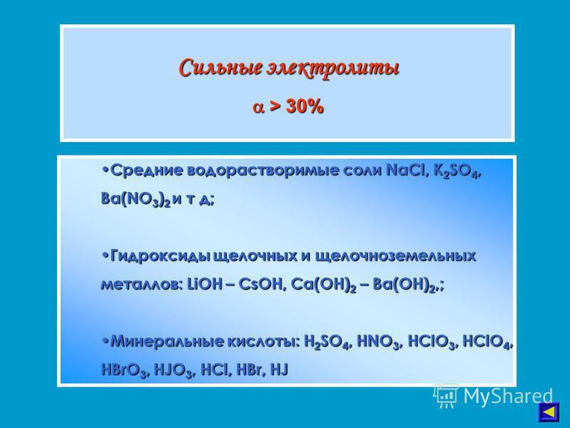 Сильные электролиты > 30% > 30% Средние водорастворимые соли NaCl, K 2 SO 4, Ba(NO 3 ) 2 и т д; Средние водорастворимые соли NaCl, K 2 SO 4, Ba(NO 3 ) 2 и т д; Гидроксиды щелочных и щелочноземельных металлов: LiOH – CsOH, Ca(OH) 2 – Ba(OH) 2,; Гидрок