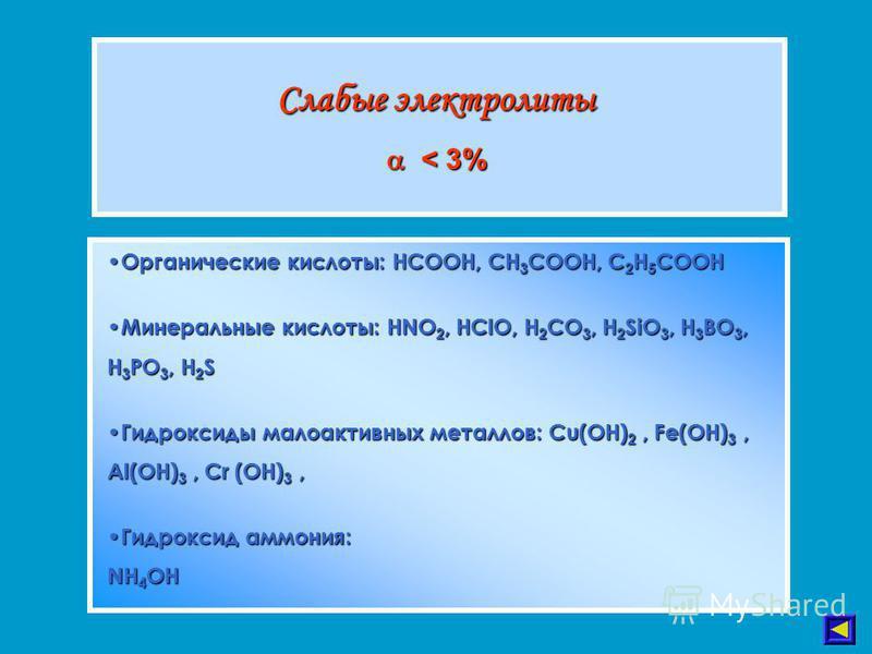 Слабые электролиты < 3% < 3% Органические кислоты: HCOOH, CH 3 COOH, C 2 H 5 COOH Органические кислоты: HCOOH, CH 3 COOH, C 2 H 5 COOH Минеральные кислоты: HNO 2, HClO, H 2 CO 3, H 2 SiO 3, H 3 BO 3, H 3 PO 3, H 2 S Минеральные кислоты: HNO 2, HClO,