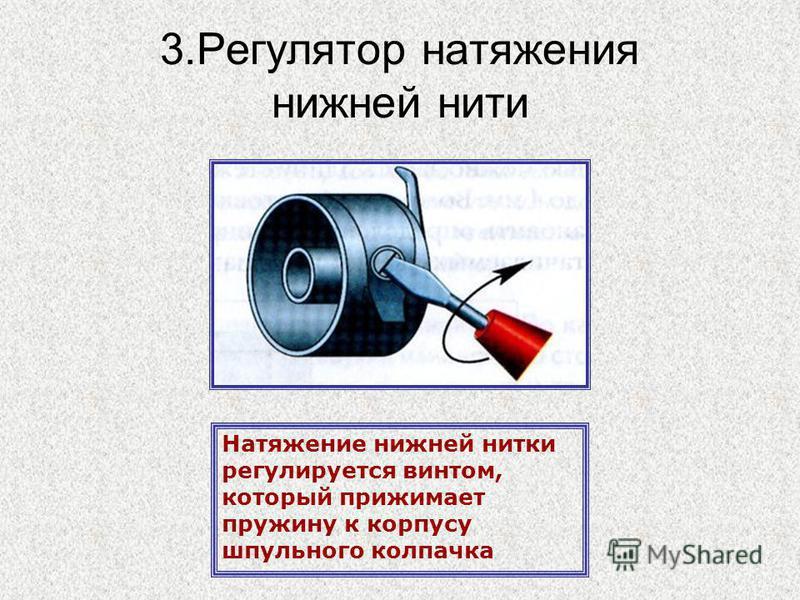 3. Регулятор натяжения нижней нити Натяжение нижней нитки регулируется винтом, который прижимает пружину к корпусу шпульного колпачка