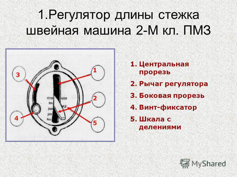 1. Регулятор длины стежка швейная машина 2-М кл. ПМЗ 1. Центральная прорезь 2. Рычаг регулятора 3. Боковая прорезь 4.Винт-фиксатор 5. Шкала с делениями 1 2 5 4 2 3