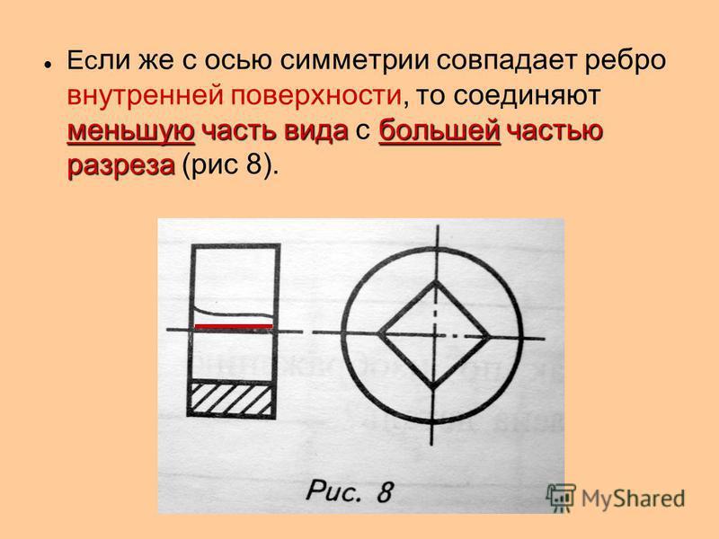 меньшую часть вида большей частью разреза Ес ли же с осью симметрии совпадает ребро внутренней поверхности, то соединяют меньшую часть вида с большей частью разреза (рис 8).