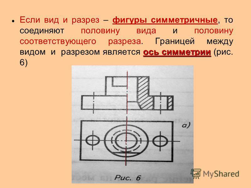 ось симметрии Если вид и разрез – фигуры симметричные, то соединяют половину вида и половину соответствующего разреза. Границей между видом и разрезом является ось симметрии (рис. 6)