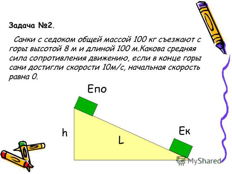 Задача 2. Санки с седоком общей массой 100 кг съезжают с горы высотой 8 м и длиной 100 м.Какова средняя сила сопротивления движению, если в конце горы сани достигли скорости 10 м/с, начальная скорость равна 0. h L Епо Ек
