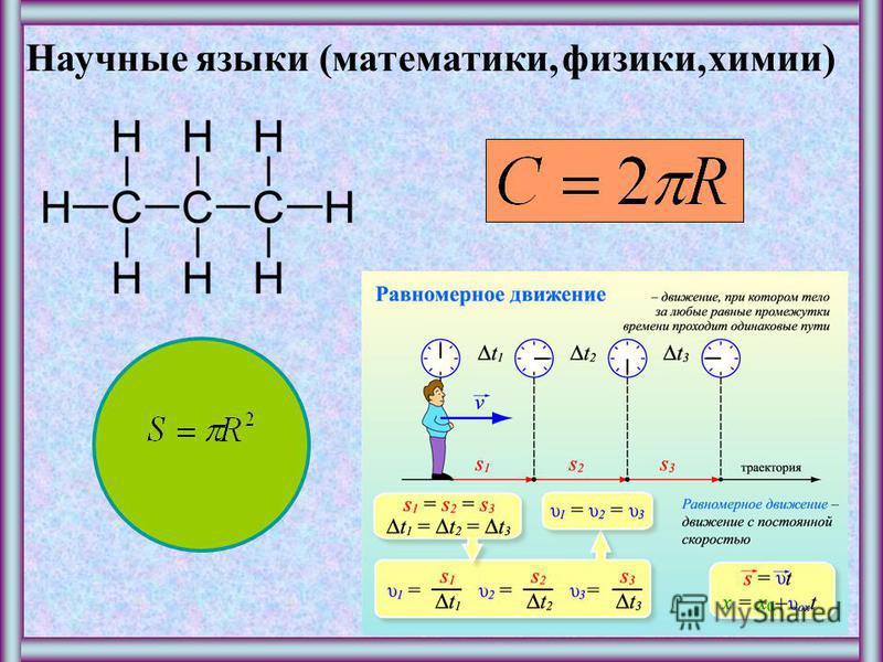 Научные языки (математики,физики,химии)