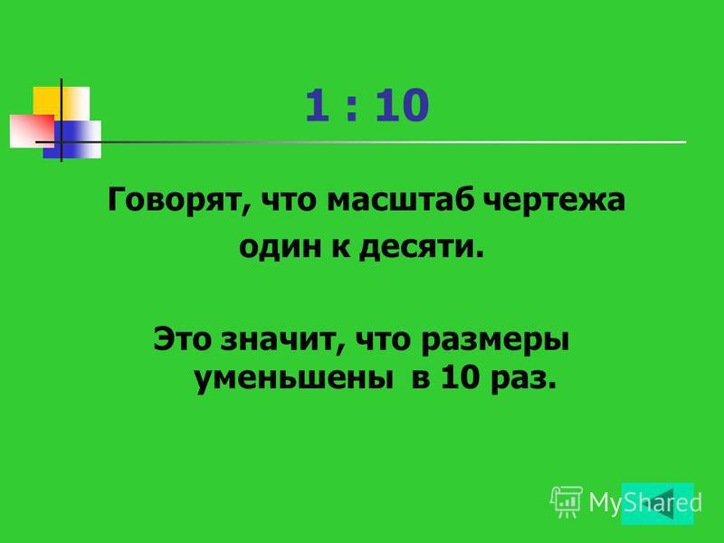 1 : 10 Говорят, что масштаб чертежа один к десяти. Это значит, что размеры уменьшены в 10 раз.