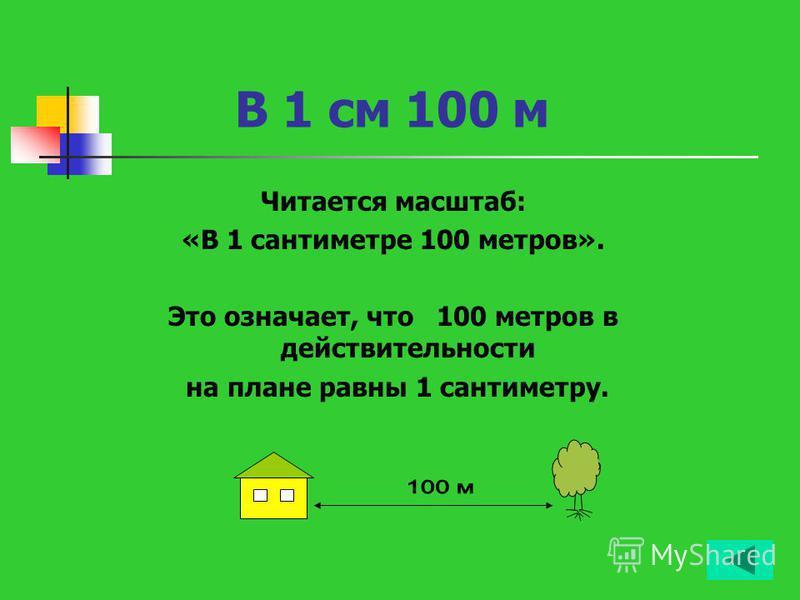 В 1 см 100 м Читается масштаб: «В 1 сантиметре 100 метров». Это означает, что 100 метров в действительности на плане равны 1 сантиметру.