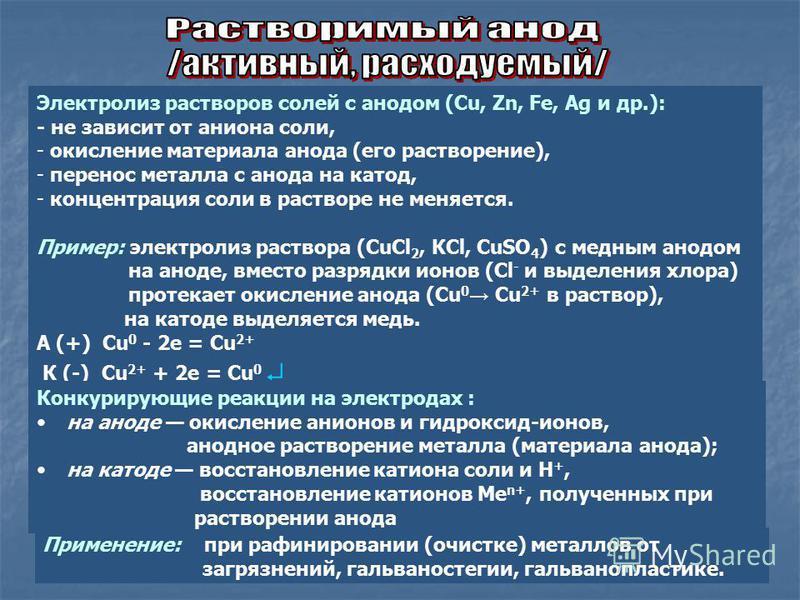 Электролиз растворов солей с анодом (Cu, Zn, Fe, Ag и др.): - не зависит от аниона соли, - окисление материала анода (его растворение), - перенос металла с анода на катод, - концентрация соли в растворе не меняется. Пример: электролиз раствора (CuCl
