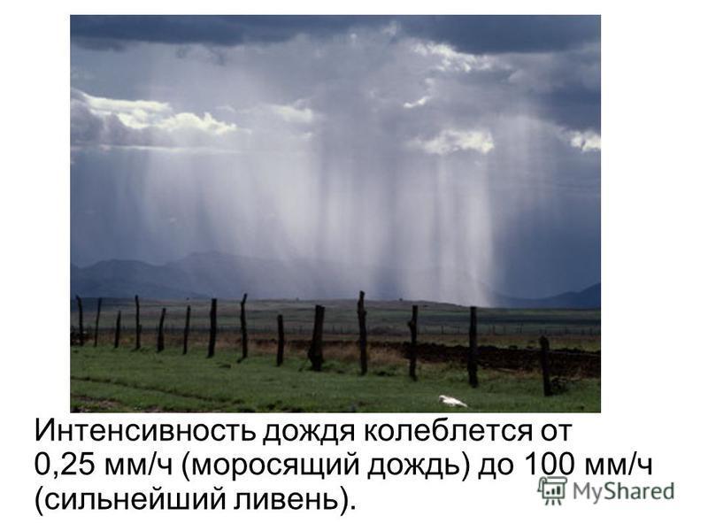 Интенсивность дождя колеблется от 0,25 мм/ч (моросящий дожди) до 100 мм/ч (сильнейший ливень).