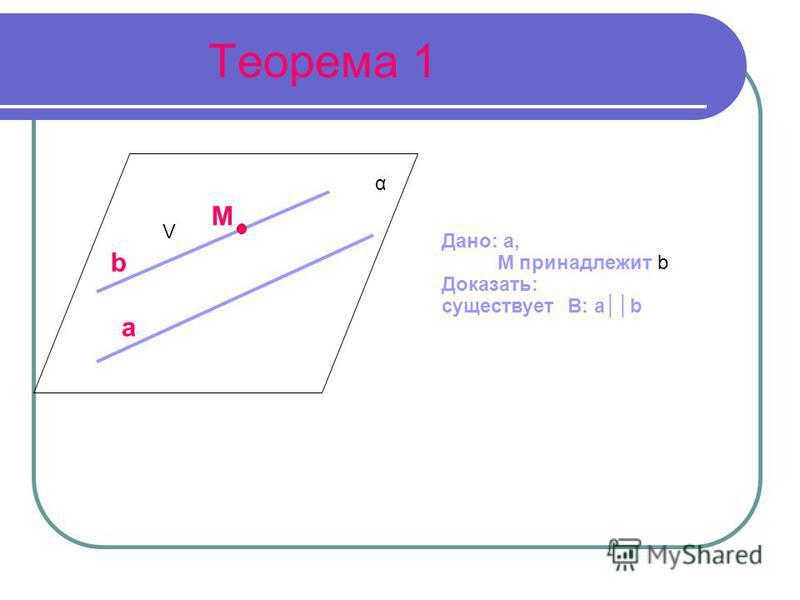 Теорема 1 Дано: a, M принадлежит b Доказать: существует B: ab a V M b α