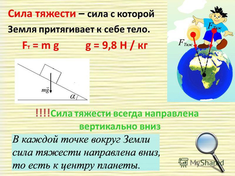 Сила тяжести – сила с которой Земля притягивает к себе тело. F т = m g g = 9,8 Н / кг !!!! Сила тяжести всегда направлена вертикально вниз