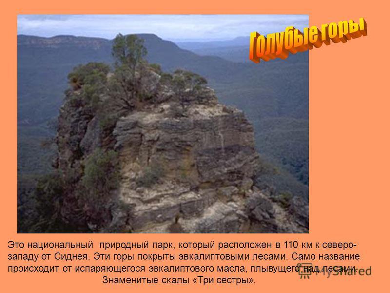 Это национальный природный парк, который расположен в 110 км к северо- западу от Сиднея. Эти горы покрыты эвкалиптовыми лесами. Само название происходит от испаряющегося эвкалиптового масла, плывущего над лесами. Знаменитые скалы «Три сестры».
