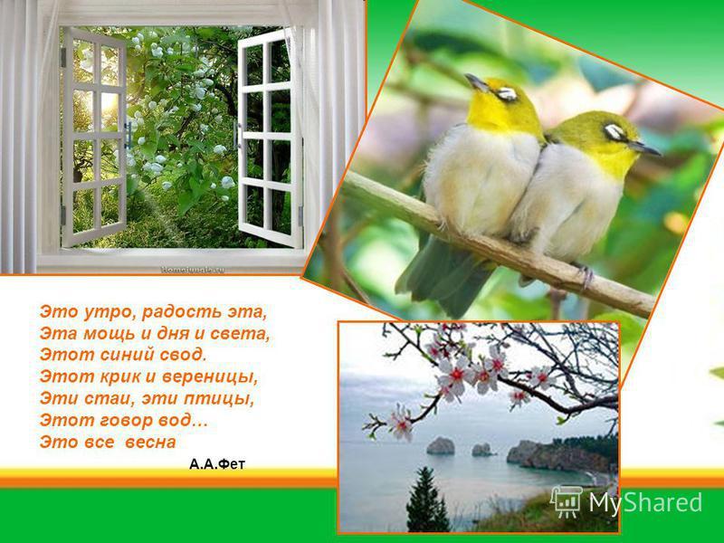 Это утро, радость эта, Эта мощь и дня и света, Этот синий свод. Этот крик и вереницы, Эти стаи, эти птицы, Этот говор вод… Это все весна А.А.Фет