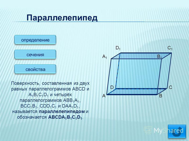 Параллелепипед Поверхность, составленная из двух равных параллелограммов ABCD и A 1 B 1 C 1 D 1 и четырёх параллелограммов ABB 1 A 1, BCC 1 B 1, CDD 1 C 1 и DAA 1 D 1, называется параллелепипедом и обозначается ABCDA 1 B 1 C 1 D 1. D 1 C 1 A 1 B 1 D