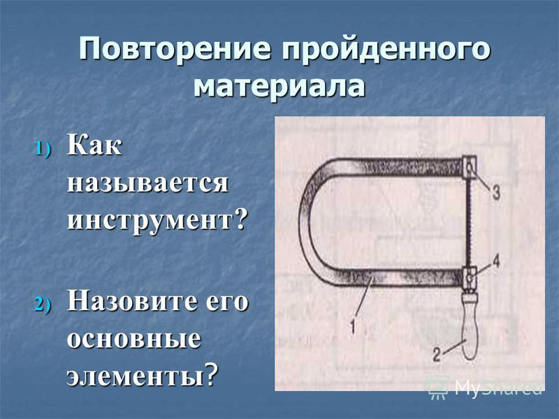 Повторение пройденного материала Повторение пройденного материала 1) Как называется инструмент? 2) Назовите его основные элементы ?