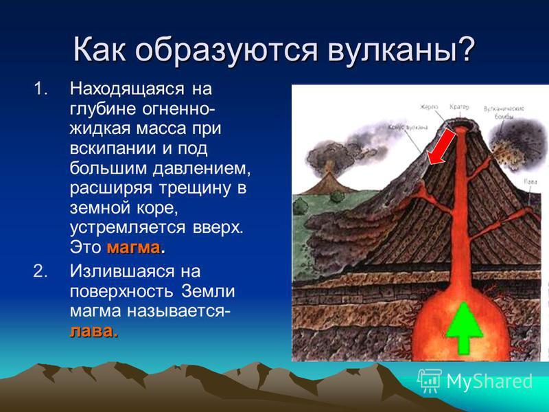 Как образуются вулканы? магма. 1. Находящаяся на глубине огненно- жидкая масса при вскипании и под большим давлением, расширяя трещину в земной коре, устремляется вверх. Это магма. лава. 2. Излившаяся на поверхность Земли магма называется- лава.