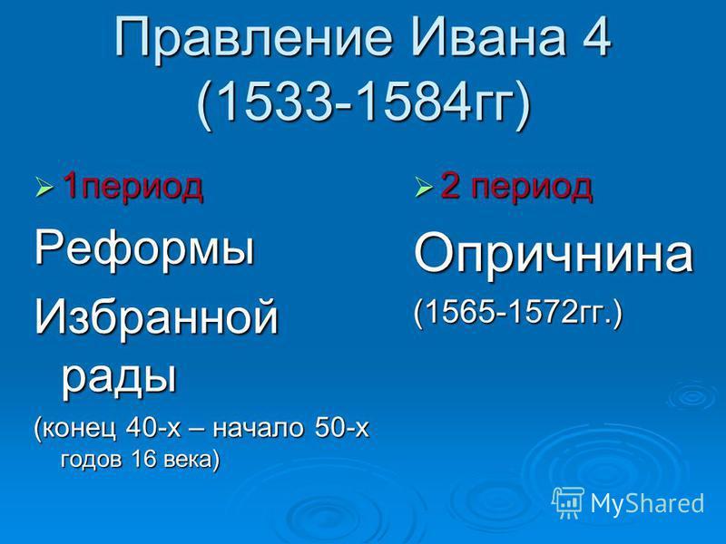Правление Ивана 4 (1533-1584 гг) 1 период 1 период Реформы Избранной рады (конец 40-х – начало 50-х годов 16 века) 2 период 2 период Опричнина(1565-1572 гг.)