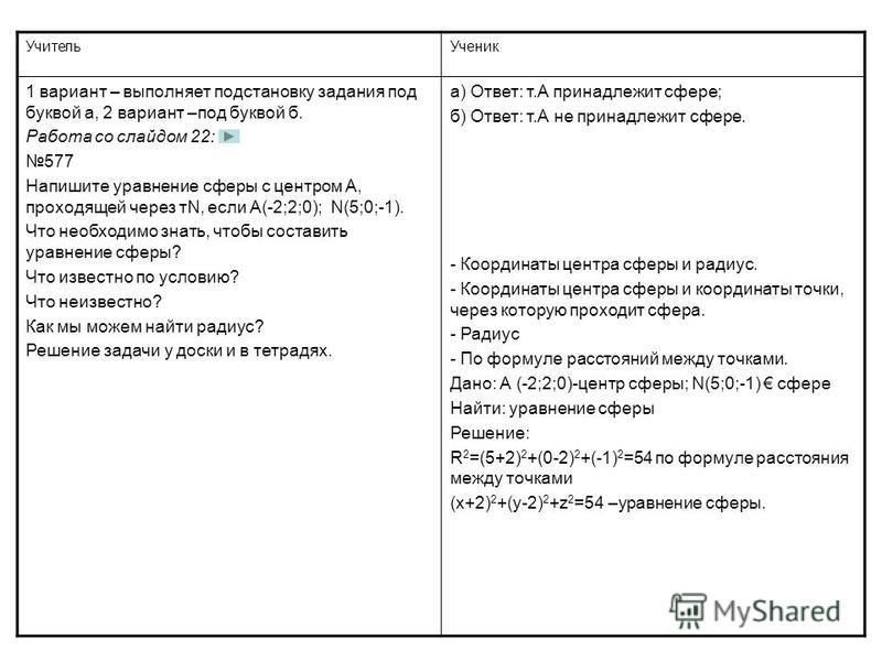Учитель Ученик 1 вариант – выполняет подстановку задания под буквой а, 2 вариант –под буквой б. Работа со слайдом 22: 577 Напишите уравнение сферы с центром А, проходящей через тN, если А(-2;2;0); N(5;0;-1). Что необходимо знать, чтобы составить урав