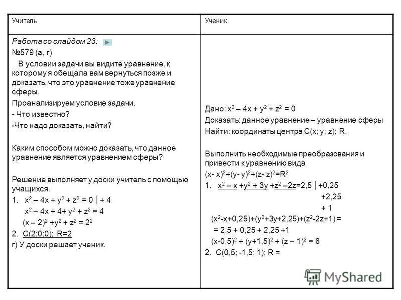 Учитель Ученик Работа со слайдом 23: 579 (а, г) В условии задачи вы видите уравнение, к которому я обещала вам вернуться позже и доказать, что это уравнение тоже уравнение сферы. Проанализируем условие задачи. - Что известно? -Что надо доказать, найт