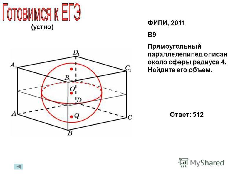 ФИПИ, 2011 В9 Прямоугольный параллелепипед описан около сферы радиуса 4. Найдите его объем. Ответ: 512 (устно)