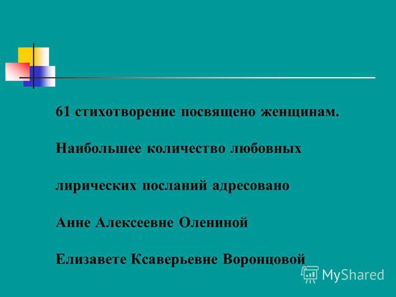 61 стихотворение посвящено женщинам. Наибольшее количество любовных лирических посланий адресовано Анне Алексеевне Олениной Елизавете Ксаверьевне Воронцовой