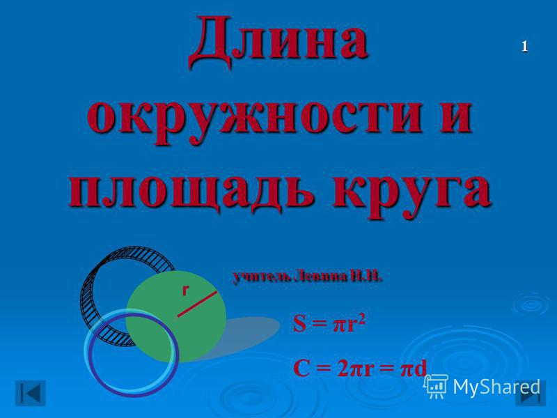 Длина окружности и площадь круга учитель Левина Н.Н. S = πr 2 C = 2πr = πd r 1