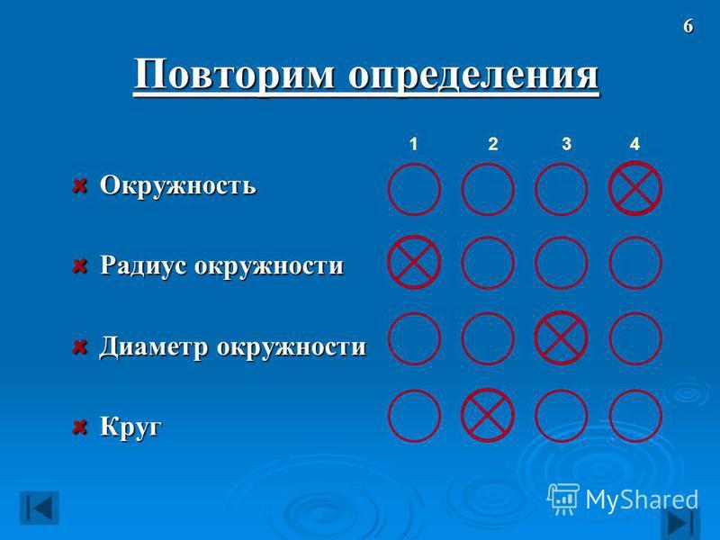 Повторим определения Окружность Радиус окружности Диаметр окружности Круг 12346