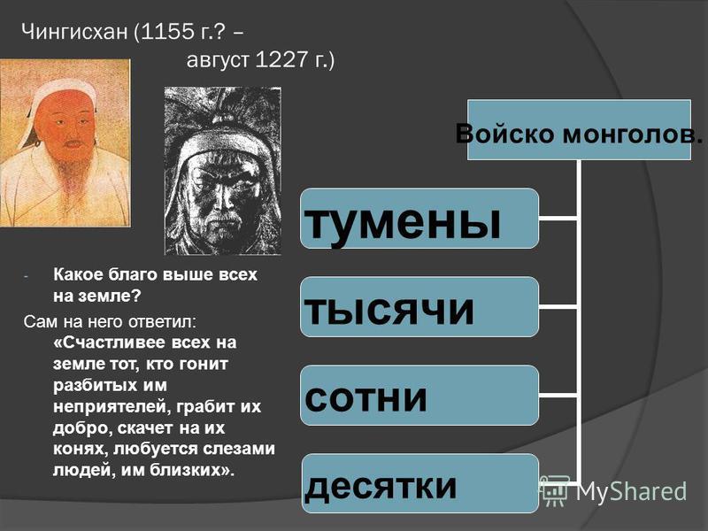 (собственное имя Тэмуджин, Темучин) (ок. 1155 – 1227) – основатель первого в истории единого монгольского государства, полководец, завоеватель. Одержал победу в междоусобной борьбе, объединил монгольские племена в единое военизированное государство.